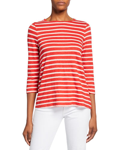 Striped Boat-Neck 3/4-Sleeve Tee