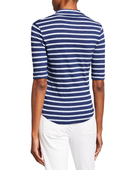 Majestic Paris for Neiman Marcus Polo Striped Button-Front Elbow-Sleeve Top