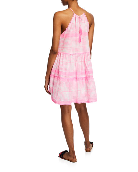 Tessora Sydni Printed Halter Pompom Short Dress