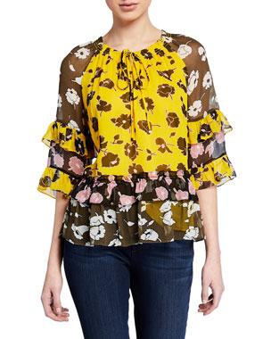 f97f5eaaf2f5 Diane von Furstenberg Annabel Tiered Floral Silk Tie-Neck Top