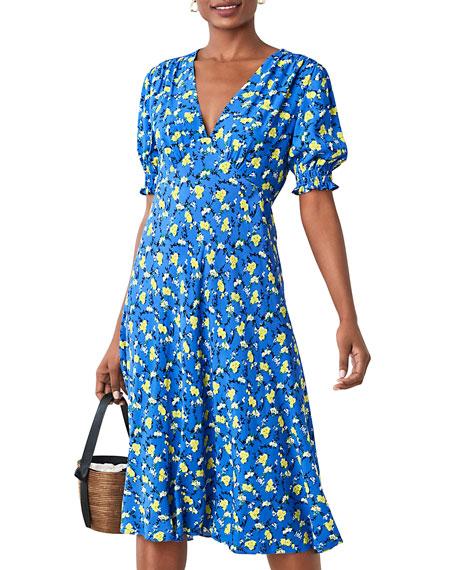 Diane von Furstenberg Jemma V-Neck Floral-Print Midi Dress