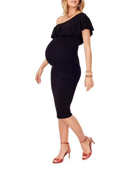 Ingrid & Isabel Maternity One-Shoulder Ruffle Dress