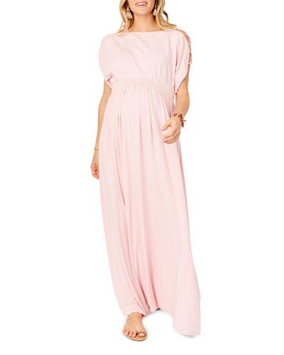 Maternity Laced-Sleeve Smocked Empire Maxi Dress
