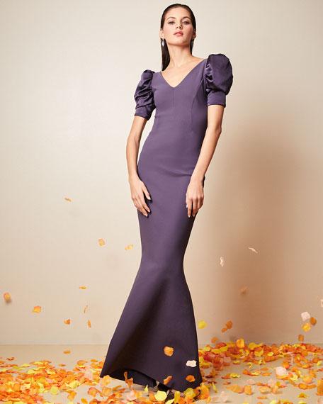 Chiara Boni La Petite Robe Meve V-Neck Shirred Satin-Sleeve Mermaid Gown