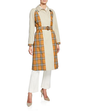 1a53abf7789a Burberry Guiseley Check Gabardine Trench Coat w/ Belt