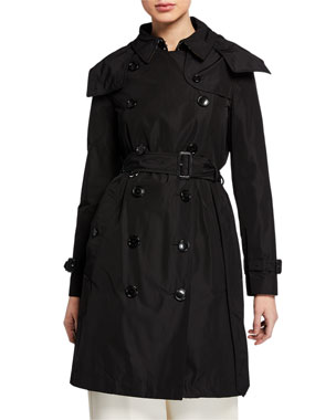 6b6a9b4d485 Burberry Kensington Double-Breasted Trench Coat w  Detachable Hood
