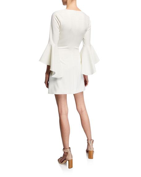 Likely Mallory Crewneck Flounce-Sleeve Mini Dress