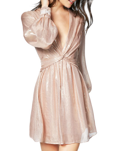 Elsie Plunging Metallic Short Dress