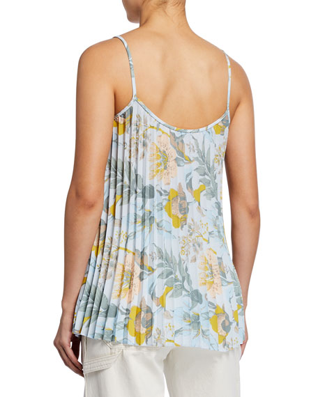 Image 2 of 2: Vince Floral-Print Pleated Camisole