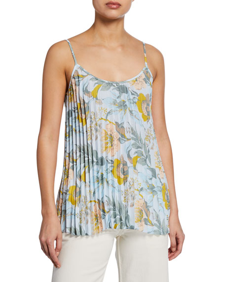 Image 1 of 2: Vince Floral-Print Pleated Camisole