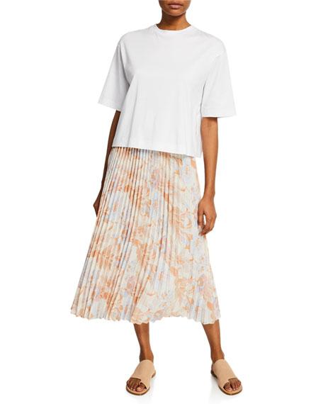Vince Marine Garden Pleated Midi Skirt