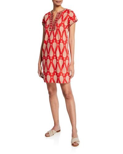 Jaya Cap-Sleeve Dress with Hand-Beading & Embroidery