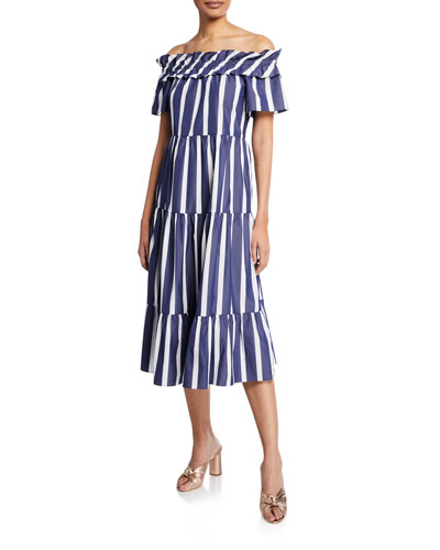 Cattleya 2 Santorini-Stripe Off-the-Shoulder Shirting Dress