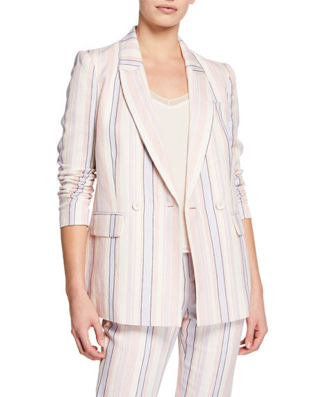 Rebecca Minkoff Grace Striped Double-Breasted Jacket