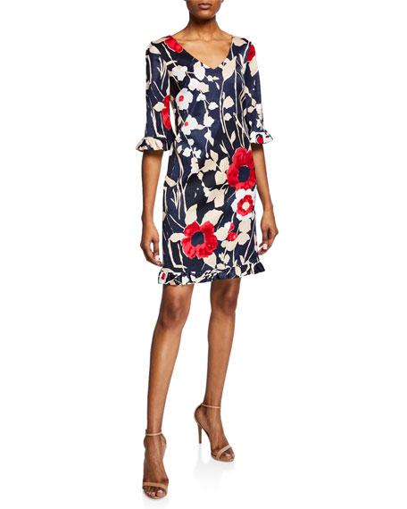 Trina Turk Jardin De Paris Faille V-Neck Dress with Ruffle Trim