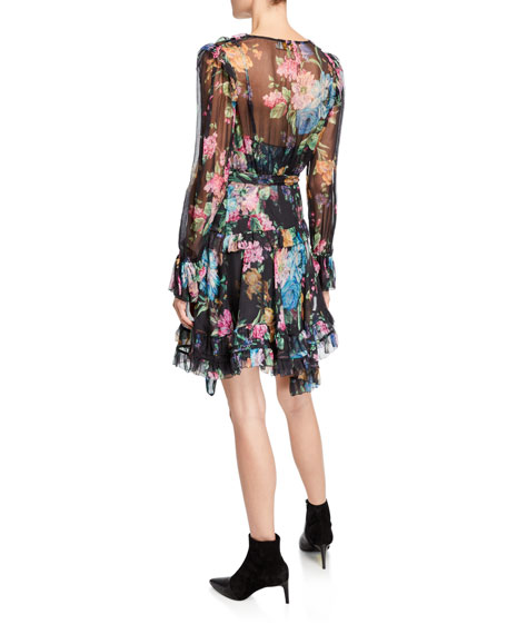Zimmermann Long Sleeve Floral Print Frill Wrap Dress