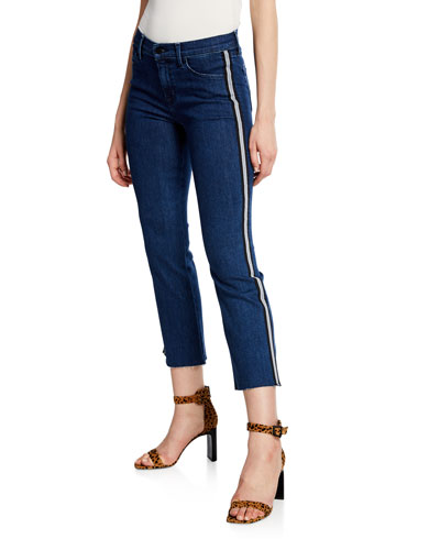 Selena Mid-Rise Cropped Boot-Cut Jeans w/ Side Stripes