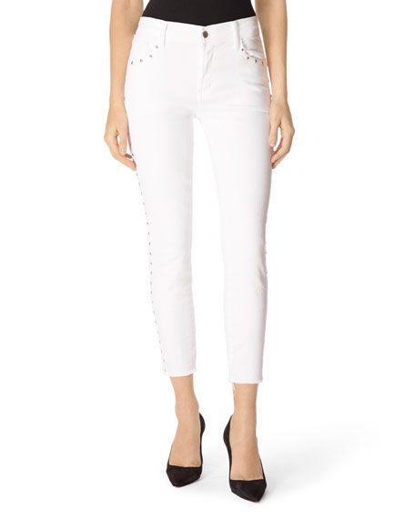 J Brand Alana High-Rise Cropped Super Skinny Jeans with Studs