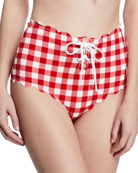 Marysia Riviera Scalloped Check Bikini Bottoms