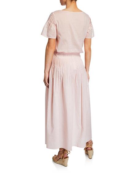 Marysia Yuma Boxy Gingham Short-Sleeve Top