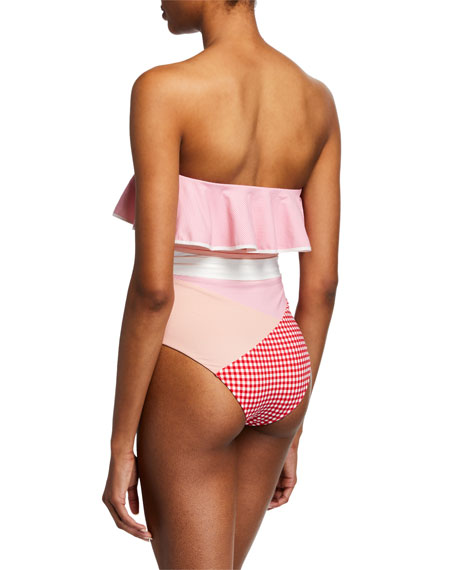 Marysia Greenport Ruffle Check Belted Swimsuit