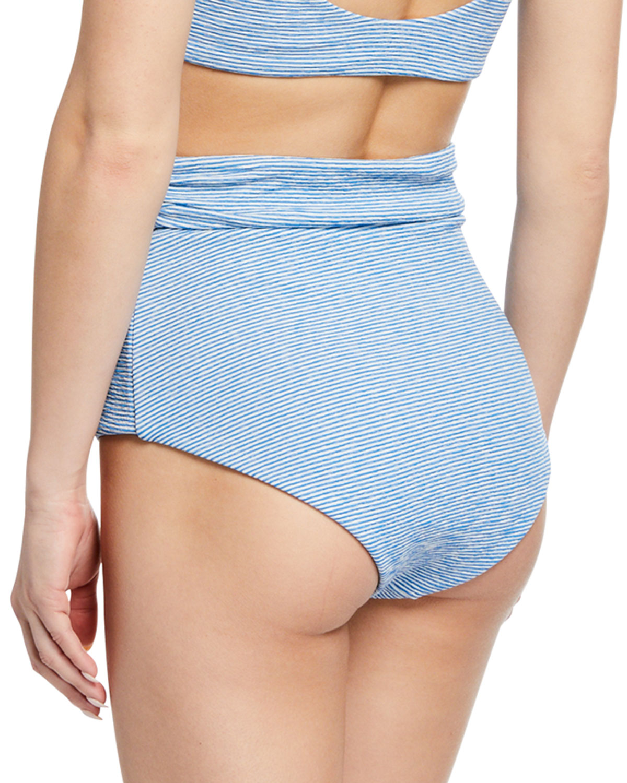 81aea12209c09 Mara Hoffman Jay Striped High-Rise Bikini Bottom | Neiman Marcus