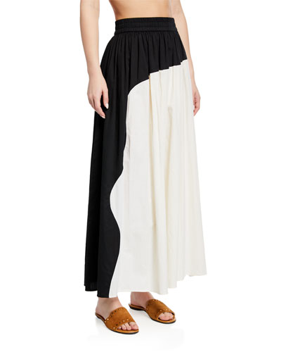 Ari Colorblock Organic Cotton Maxi Skirt