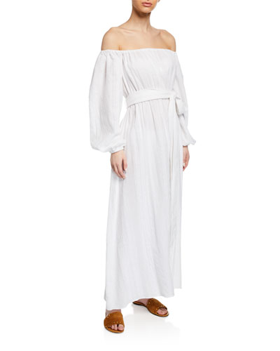 Plus Size Malika Off-the-Shoulder Blouson-Sleeve Organic Cotton Maxi Dress