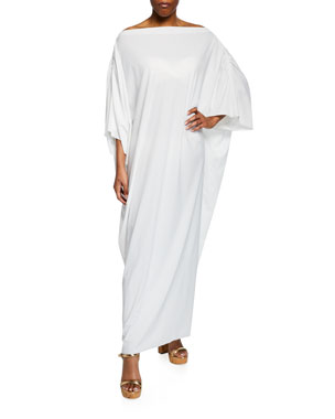 8a770b6b8fd6f Chiara Boni La Petite Robe Whoopi Off-Shoulder Long Coverup Caftan