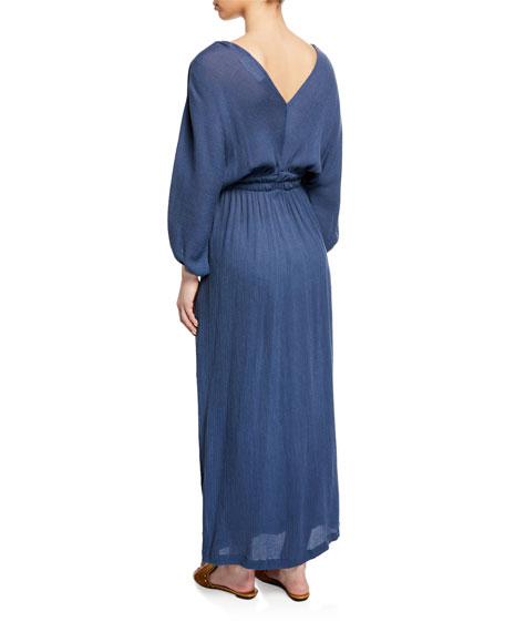 Mara Hoffman Plus Size Nami Surplice Long-Sleeve Woven Maxi Dress