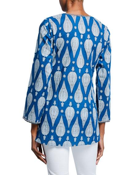 Bella Tu Jaya V-Neck Long-Sleeve Hand-Beaded Tunic