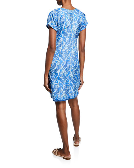 Bella Tu Abby Split-Neck Cap-Sleeve Shift Dress with Hand-Beading