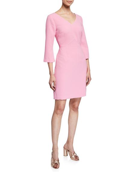 Trina Turk  NOTEWORTHY V-NECK 3/4-SLEEVE CARMEL CREPE DRESS