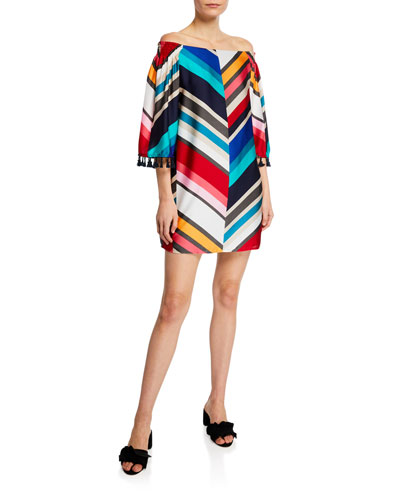 Amaris Off-the-Shoulder 3/4-Sleeve Jet Set Chevron Mini Dress