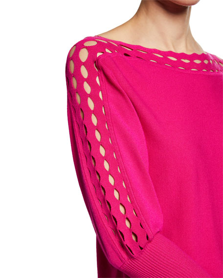 Milly Diamond-Cut High-Neck 3/4-Sleeve Top