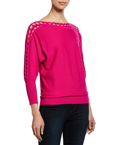 Diamond-Cut High-Neck 3/4-Sleeve Top