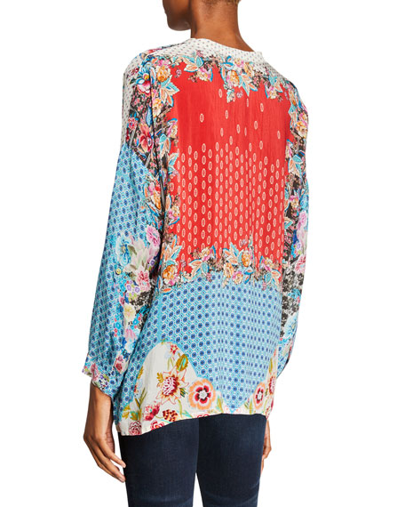 Johnny Was Plus Size Patch Button-Front Mixed-Print Blouse