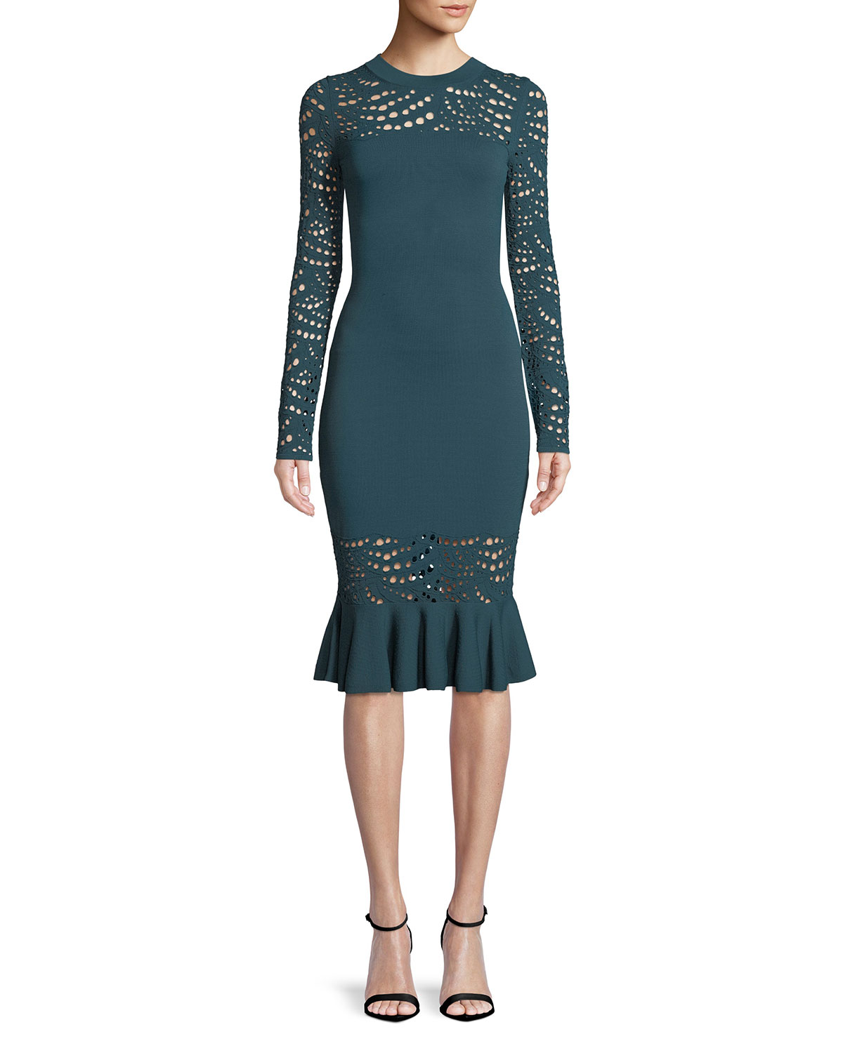 af9b64916c6f Milly Long-Sleeve Pointelle Lace Mermaid Midi Dress
