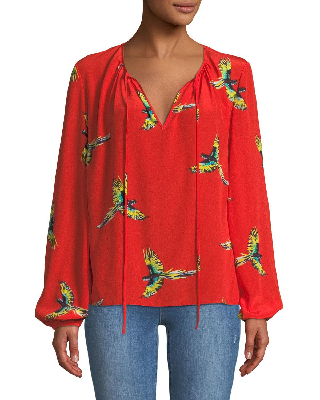 92a91dbaed3975 Diane von Furstenberg Silk Bird-Print Long-Sleeve Blouse