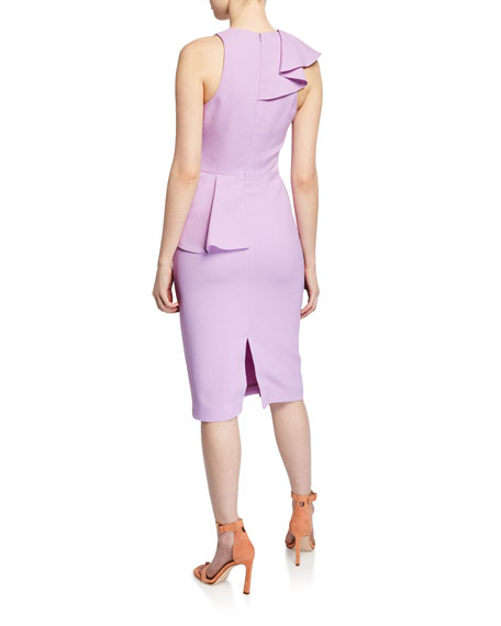 Black Halo Felicia Sleeveless Ruffle Peplum Sheath Dress