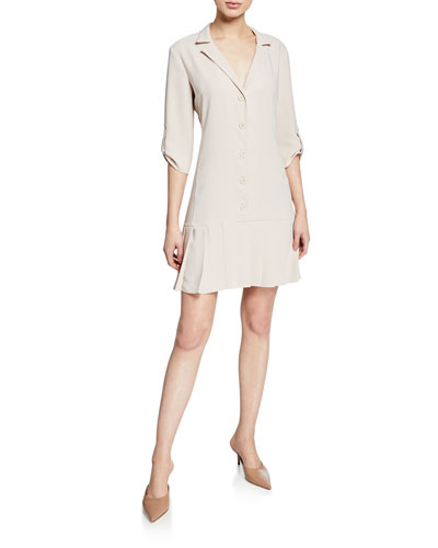 Anaheim Button-Front 3/4-Sleeve Pleated-Hem Dress