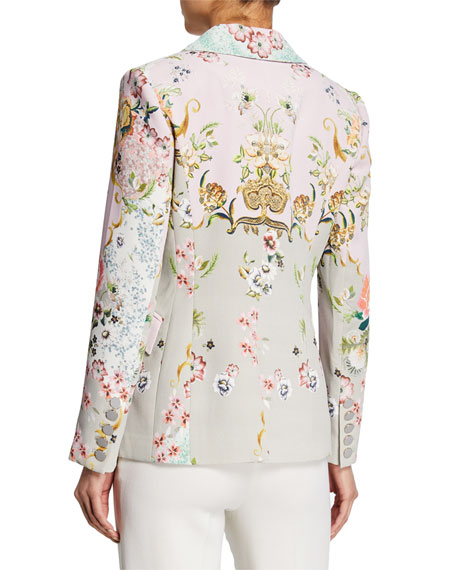 Badgley Mischka Collection Alice Printed One-Button Jacket