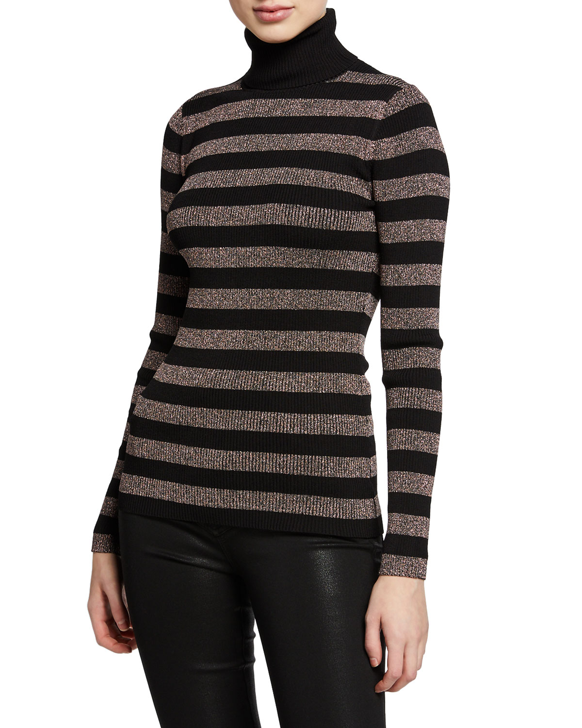 96f05ab2967 MICHAEL Michael Kors Lurex® Metallic Stripe Long-Sleeve Turtleneck Sweater