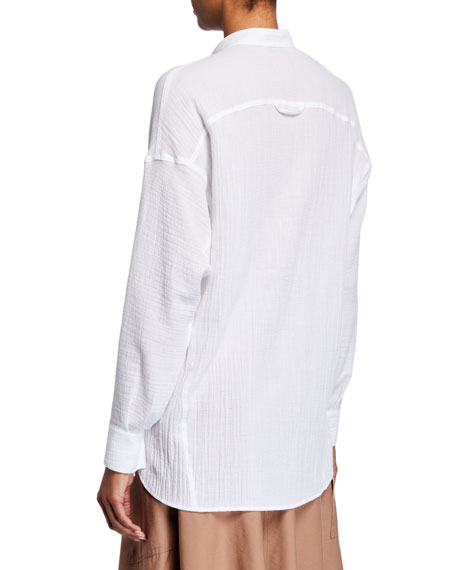 Vince Relaxed Cotton Button-Up Tunic