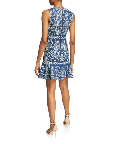 Alice + Olivia Rapunzel Embroidered Sleeveless Dress