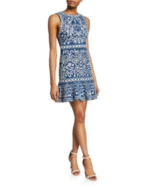 af42e54a74 Alice + Olivia Rapunzel Embroidered Sleeveless Dress