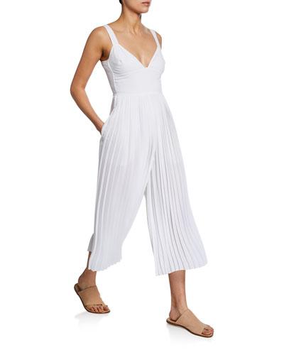 V-Neck Sleeveless Pleated Crop Jumpsuit