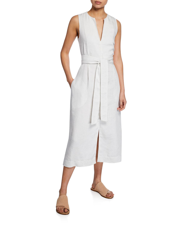 e7a3eebbcc8c55 Vince Pencil-Stripe Belted Sleeveless Dress | Neiman Marcus