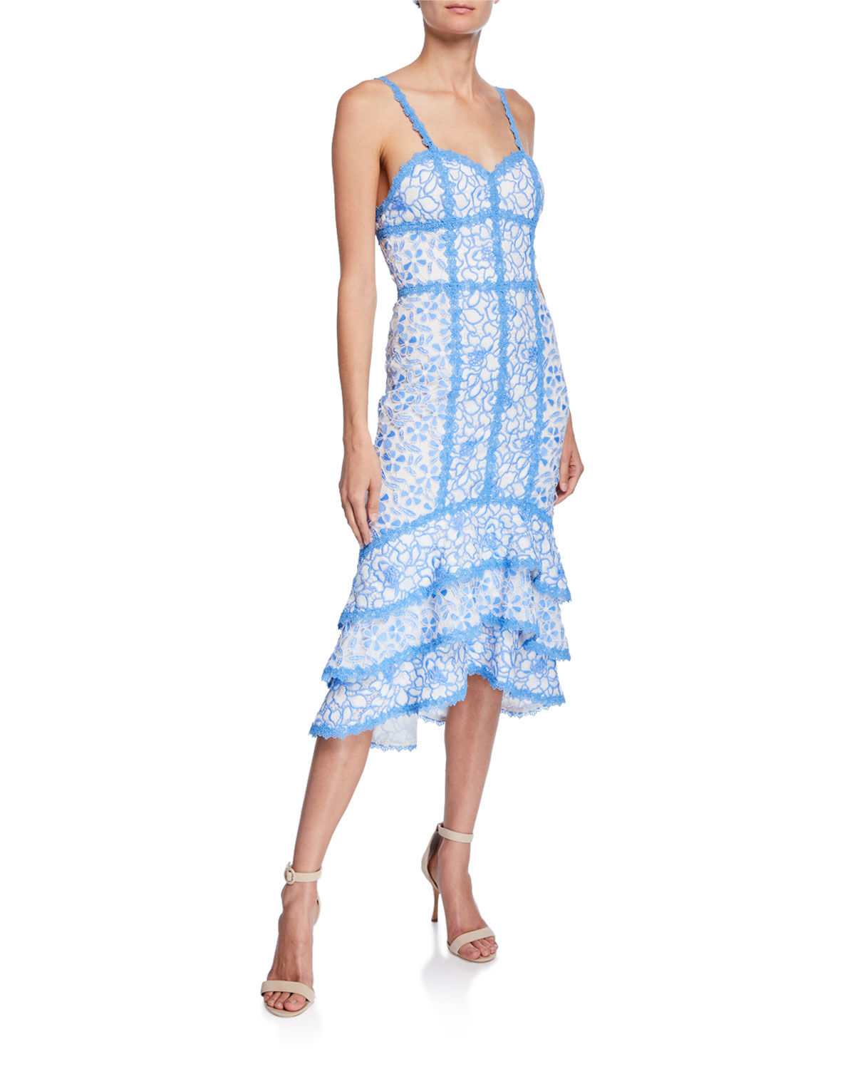 76da7474026 Alice + Olivia Diane Floral Lace Sweetheart Sleeveless Tiered High-Low Dress