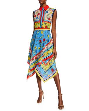 ab12fea687 Alice + Olivia Farrah Collared Handkerchief Dress